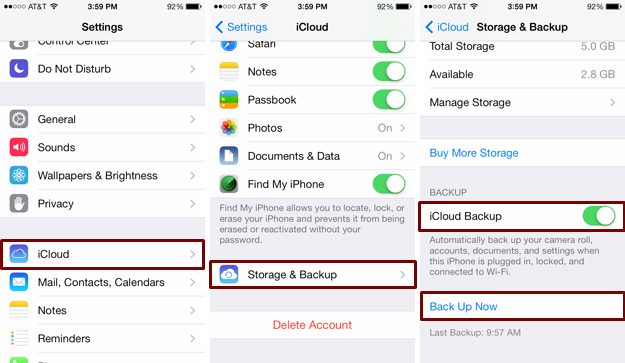 Backup iPhone data to iCloud