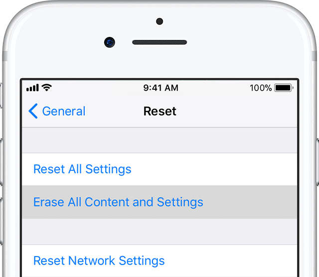 Erase All content and settings of iPhone