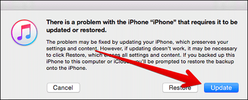 update-iphone-in-recovey-mode-in-itunes