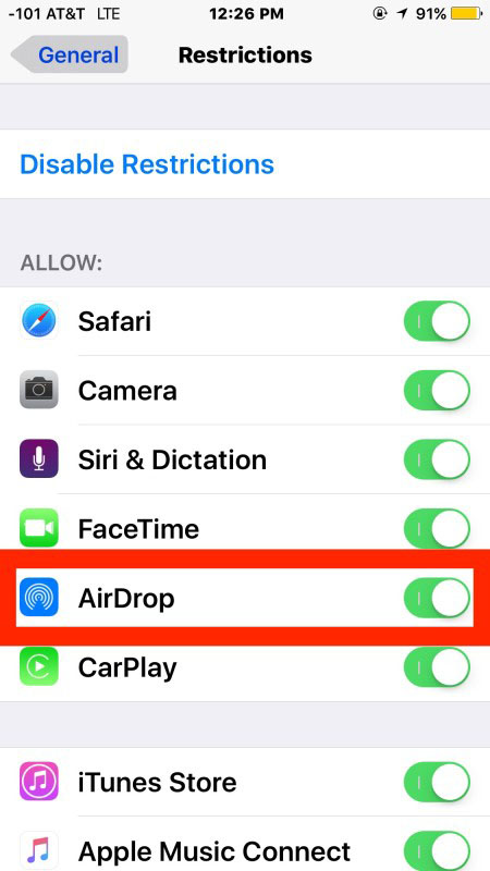 fix AirDrop not showing in iOS control center