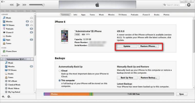 Restore Phone via iTunes To Fix Red Screen