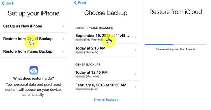 Restore iOS data from iCloud
