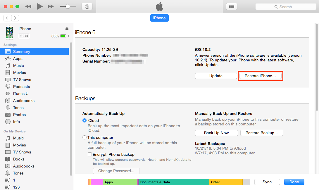 Erase iPhone Data Without passcode via iTunes