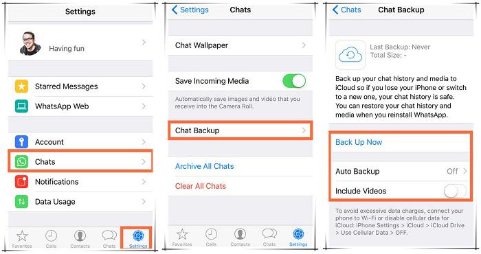 Backup WhatsApp Chat History iPhone
