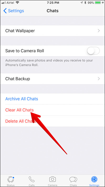 Clear All WhatsApp Chat History on iPhone