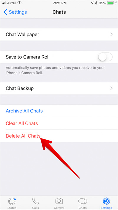 Delete All WhatsApp Chat History on iPhone