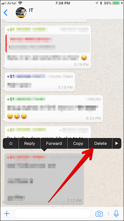Delete Individual WhatsApp Chat History on iPhone