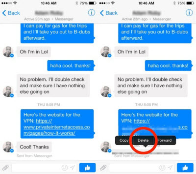 delete facebook messages from inbox on iPhone
