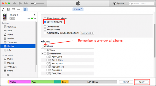How To Delete Synced Album form iPhone via iTunes