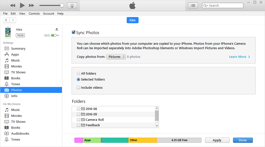 Delete iPhone Photo Library via iTunes